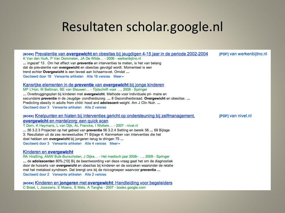Resultaten scholar.google.nl