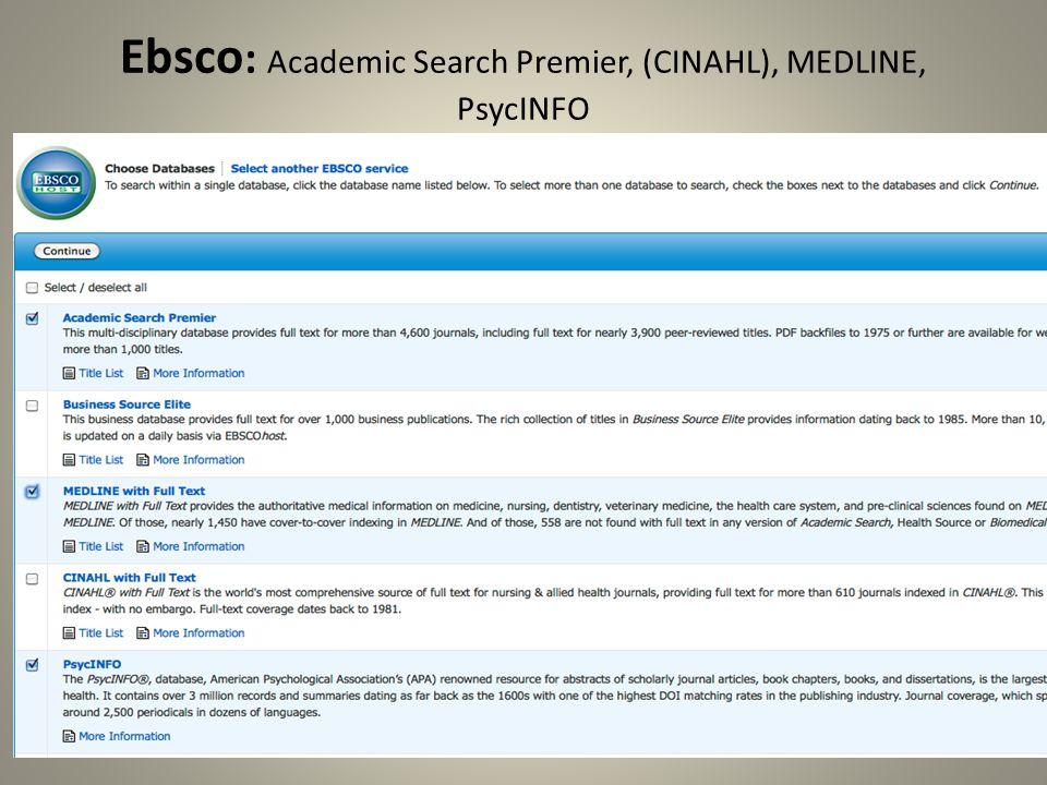 Ebsco: Academic Search Premier, (CINAHL), MEDLINE, PsycINFO