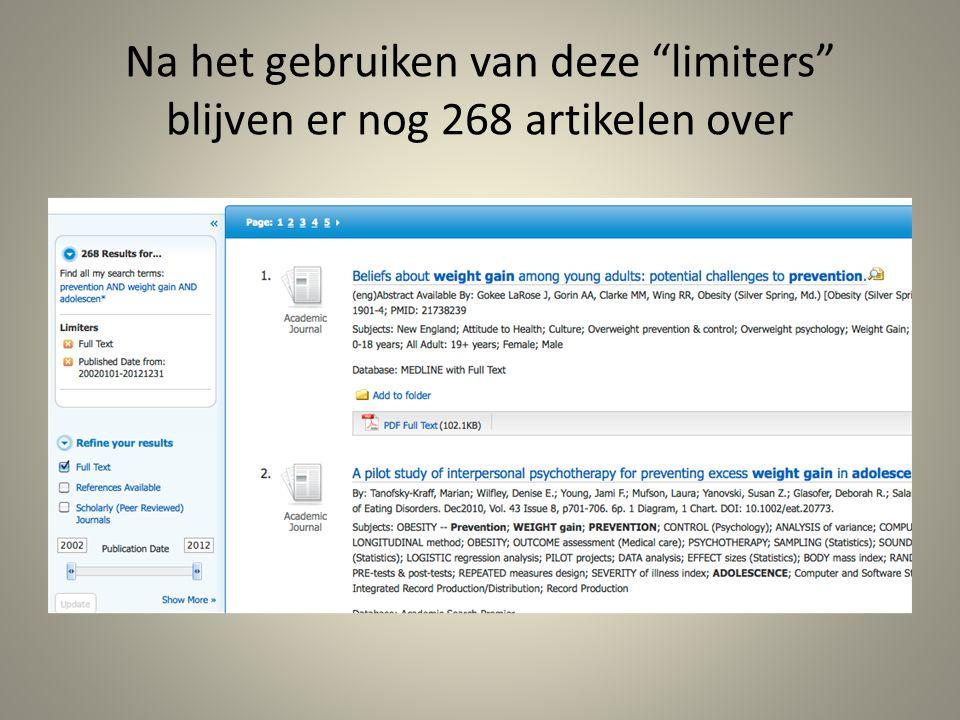 Na het gebruiken van deze limiters blijven er nog 268 artikelen over