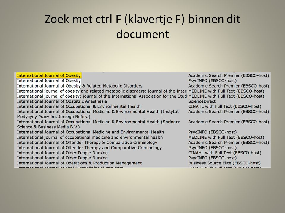 Zoek met ctrl F (klavertje F) binnen dit document
