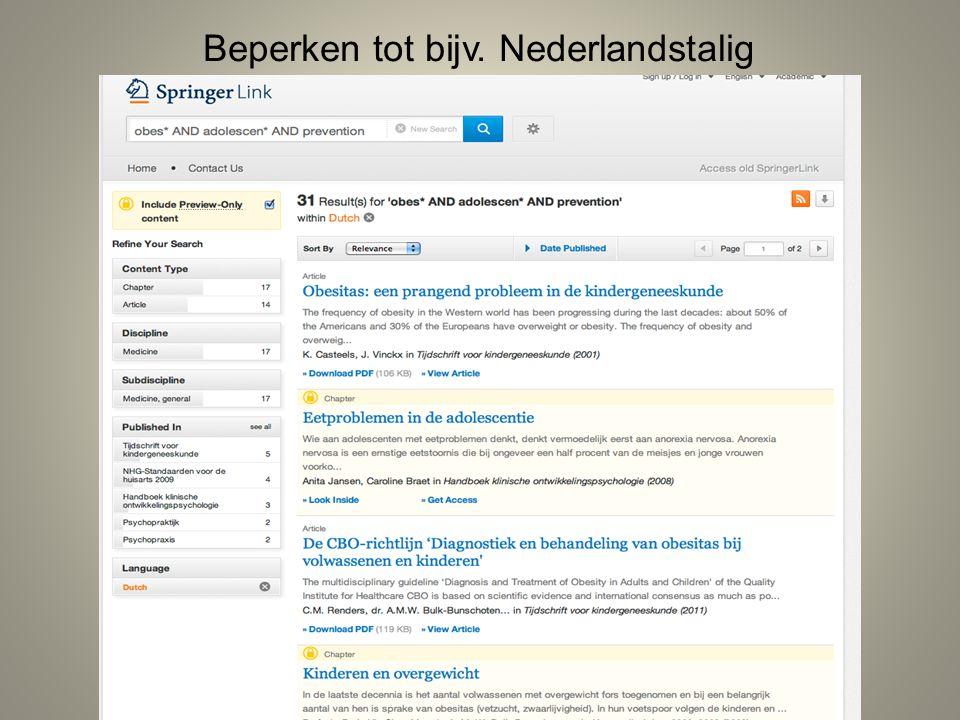 Beperken tot bijv. Nederlandstalig