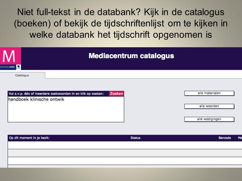 Niet full-tekst in de databank