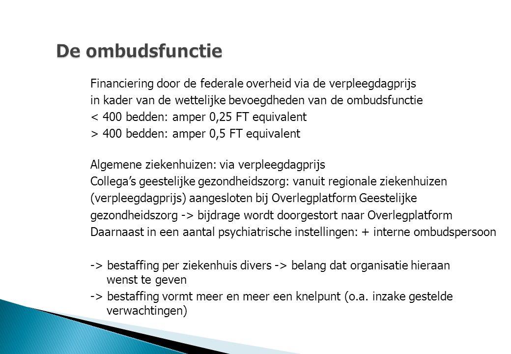 De ombudsfunctie Financiering door de federale overheid via de verpleegdagprijs. in kader van de wettelijke bevoegdheden van de ombudsfunctie.