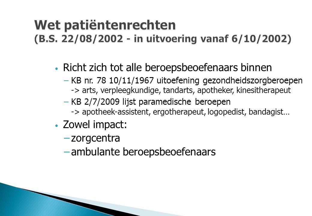 Wet patiëntenrechten (B.S. 22/08/2002 - in uitvoering vanaf 6/10/2002)