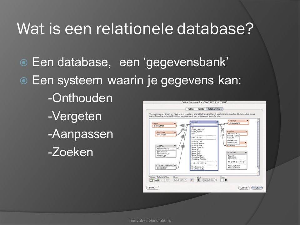 Wat is een relationele database