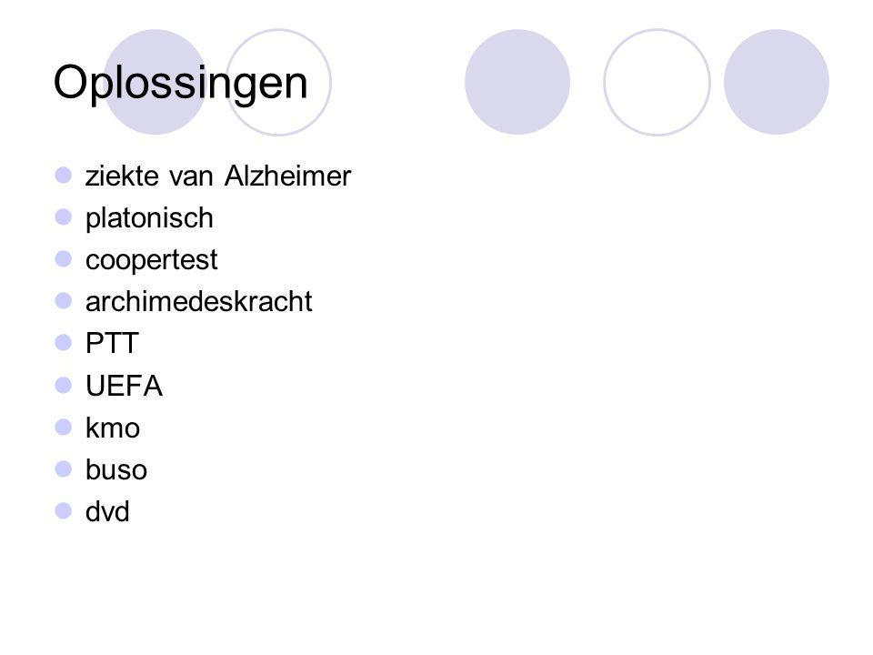 Oplossingen ziekte van Alzheimer platonisch coopertest