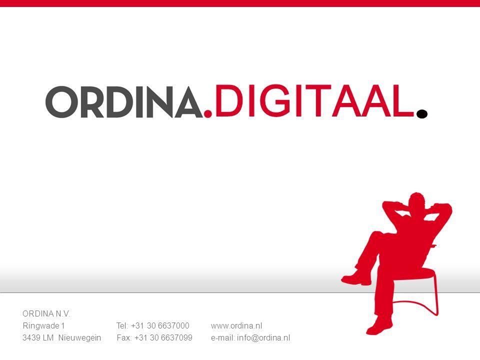 DIGITAAL ORDINA N.V. Ringwade 1 Tel: +31 30 6637000 www.ordina.nl