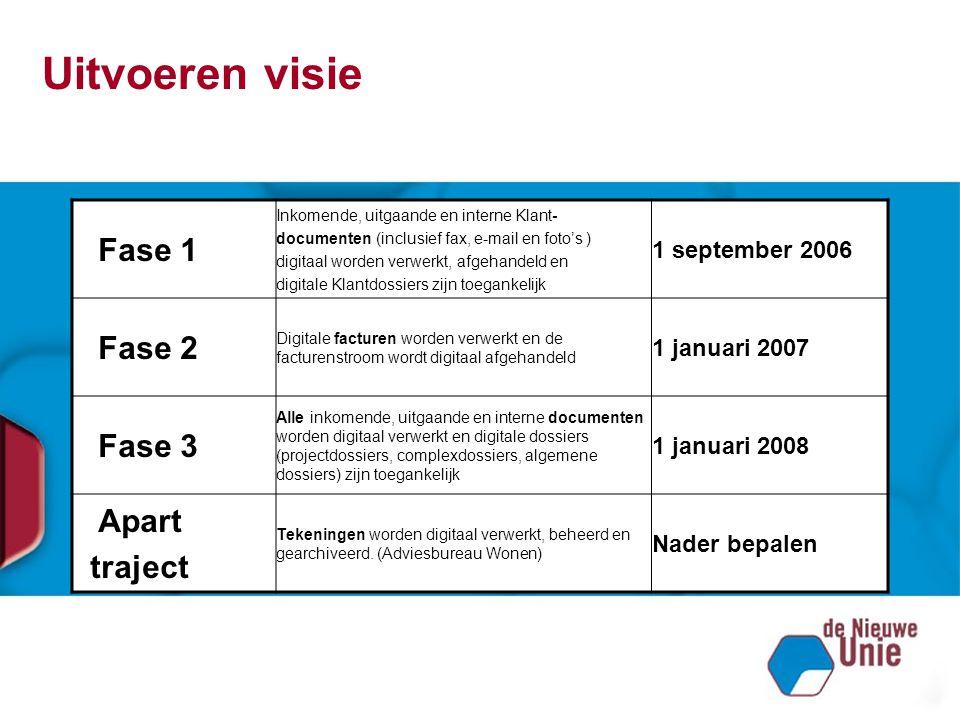 Uitvoeren visie Fase 1 Fase 2 Fase 3 Apart traject 1 september 2006