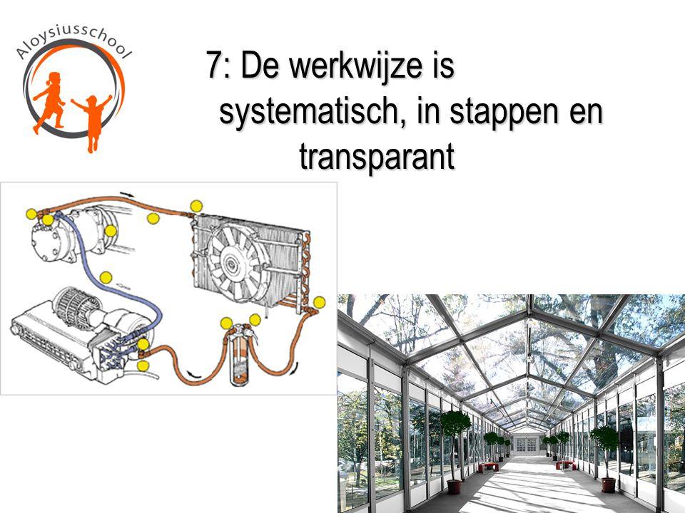 7: De werkwijze is systematisch, in stappen en transparant