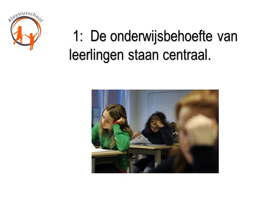 1: De onderwijsbehoefte van leerlingen staan centraal.