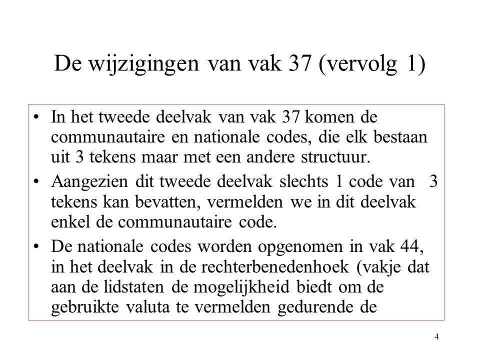 De wijzigingen van vak 37 (vervolg 1)
