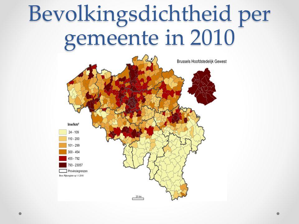 Bevolkingsdichtheid per gemeente in 2010