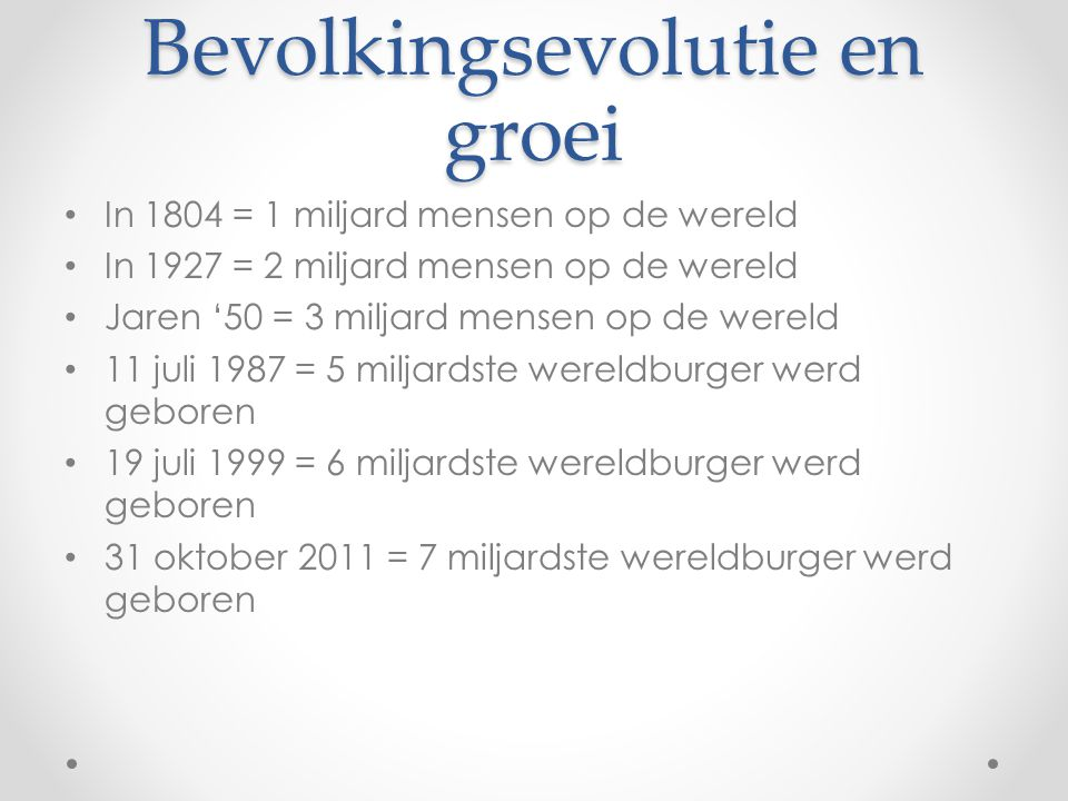 Bevolkingsevolutie en groei