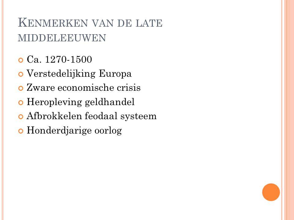 Kenmerken van de late middeleeuwen