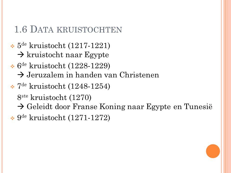 1.6 Data kruistochten 5de kruistocht (1217-1221)  kruistocht naar Egypte. 6de kruistocht (1228-1229)  Jeruzalem in handen van Christenen.