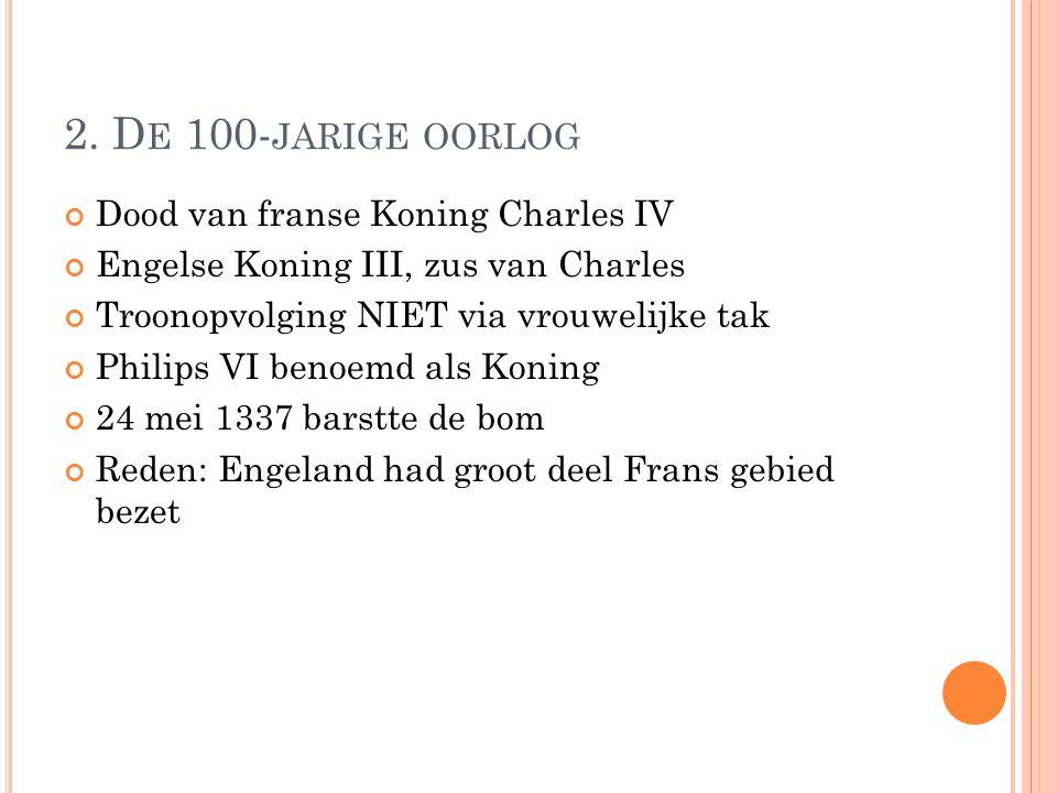 2. De 100-jarige oorlog Dood van franse Koning Charles IV