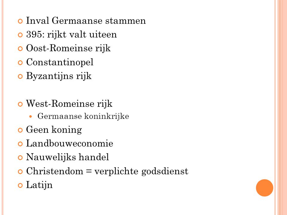 Inval Germaanse stammen 395: rijkt valt uiteen Oost-Romeinse rijk