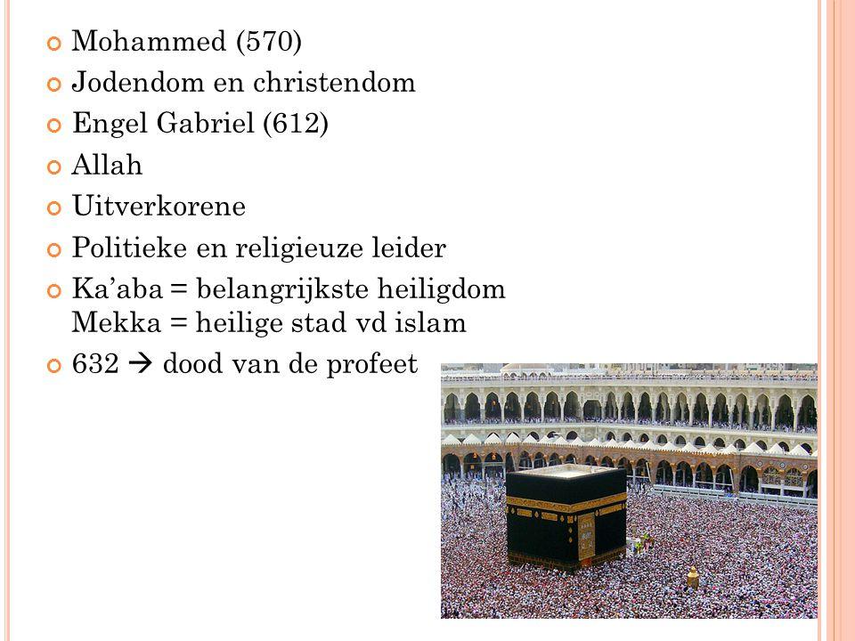 Mohammed (570) Jodendom en christendom. Engel Gabriel (612) Allah. Uitverkorene. Politieke en religieuze leider.