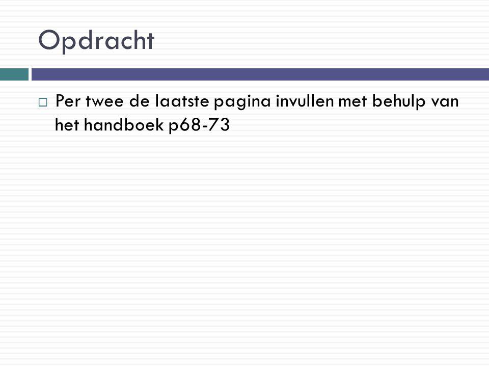 Opdracht Per twee de laatste pagina invullen met behulp van het handboek p68-73