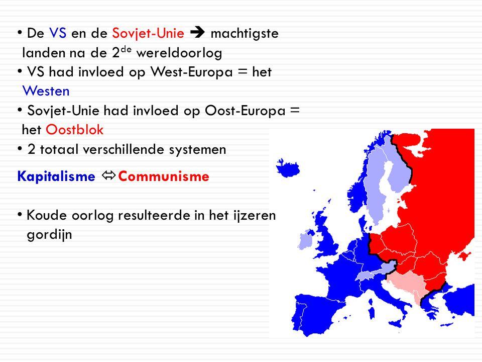 De VS en de Sovjet-Unie  machtigste landen na de 2de wereldoorlog