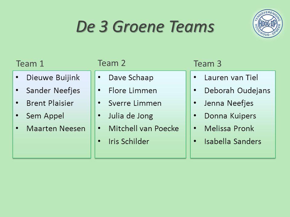 De 3 Groene Teams Team 1 Team 2 Team 3 Dieuwe Buijink Sander Neefjes