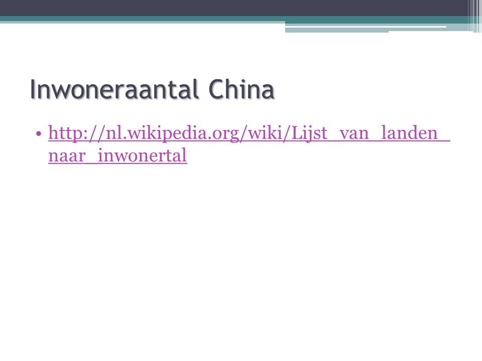 Inwoneraantal China http://nl.wikipedia.org/wiki/Lijst_van_landen_ naar_inwonertal