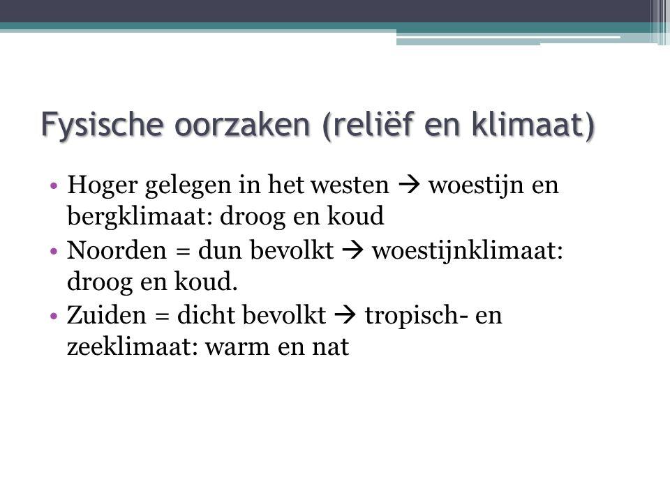 Fysische oorzaken (reliëf en klimaat)
