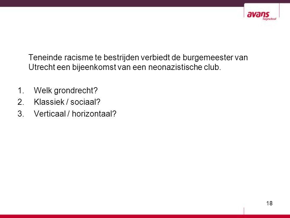 Teneinde racisme te bestrijden verbiedt de burgemeester van Utrecht een bijeenkomst van een neonazistische club.