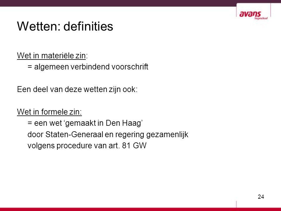 Wetten: definities Wet in materiële zin: