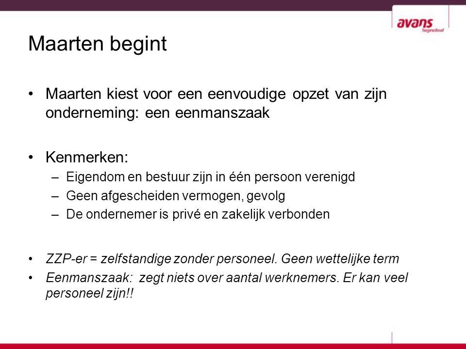 Maarten begint Maarten kiest voor een eenvoudige opzet van zijn onderneming: een eenmanszaak. Kenmerken: