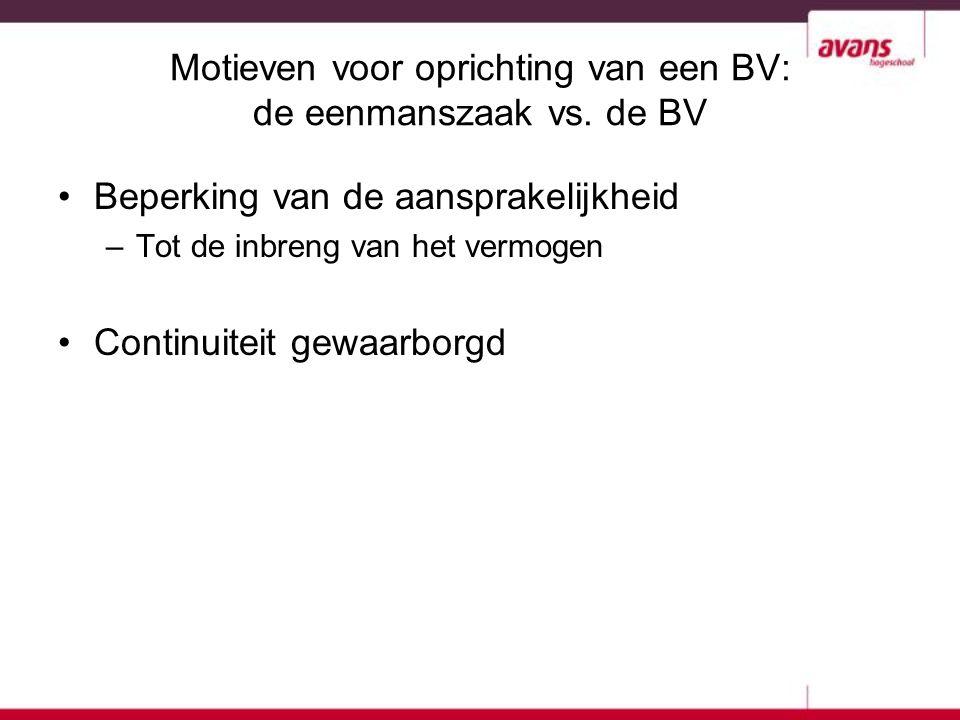 Motieven voor oprichting van een BV: de eenmanszaak vs. de BV