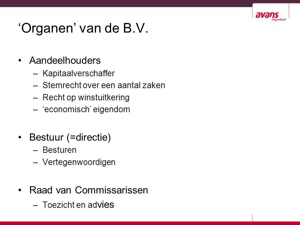 'Organen' van de B.V. Aandeelhouders Bestuur (=directie)