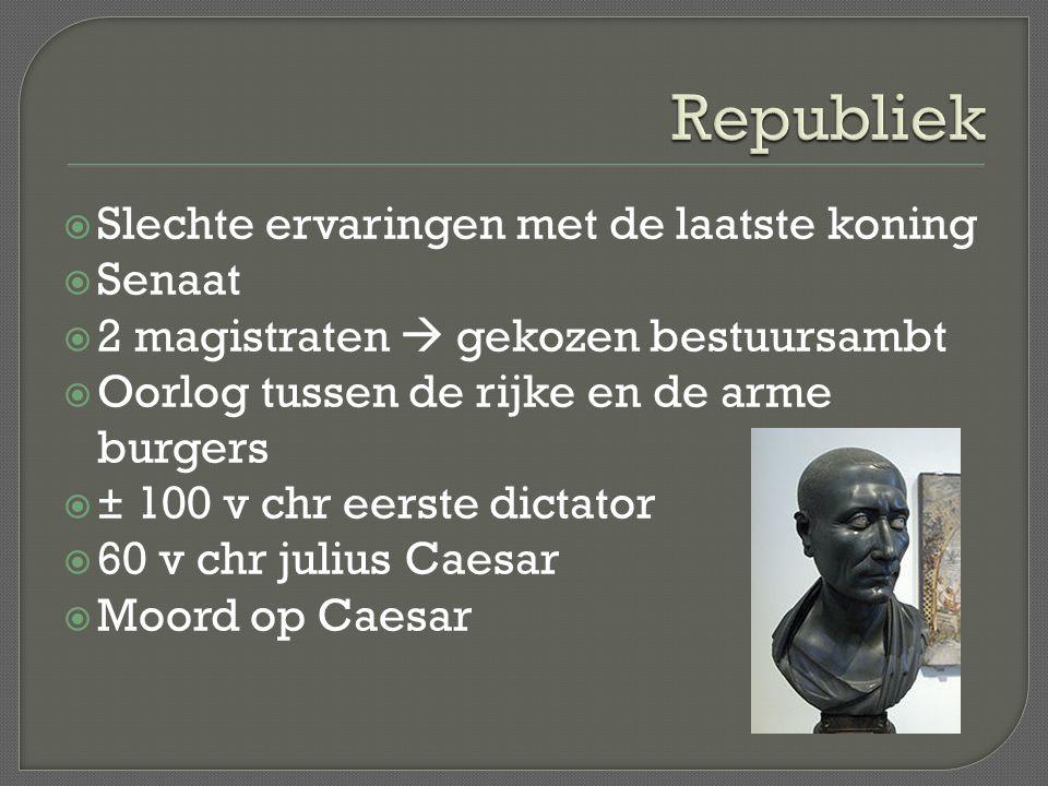 Republiek Slechte ervaringen met de laatste koning Senaat