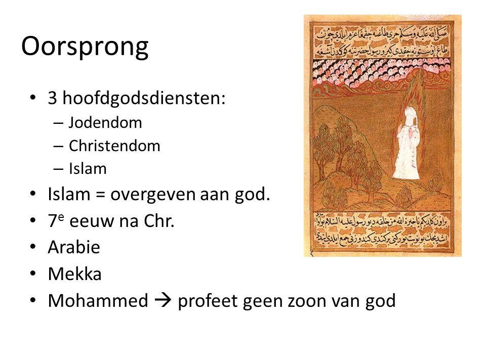 Oorsprong 3 hoofdgodsdiensten: Islam = overgeven aan god.