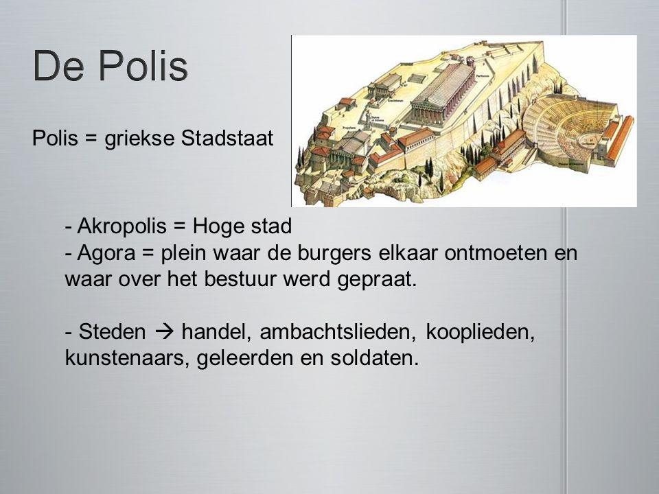 De Polis Polis = griekse Stadstaat Akropolis = Hoge stad