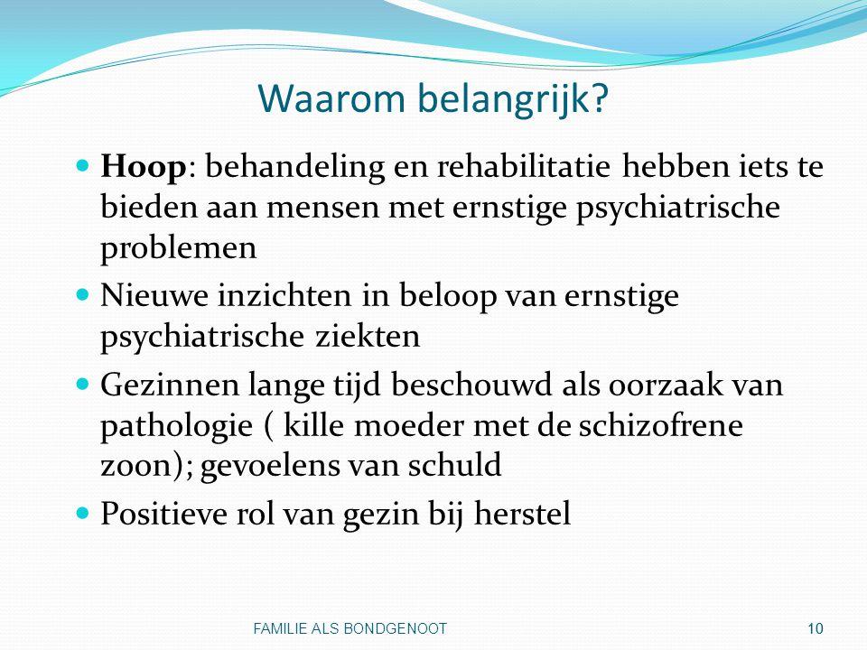 Waarom belangrijk Hoop: behandeling en rehabilitatie hebben iets te bieden aan mensen met ernstige psychiatrische problemen.