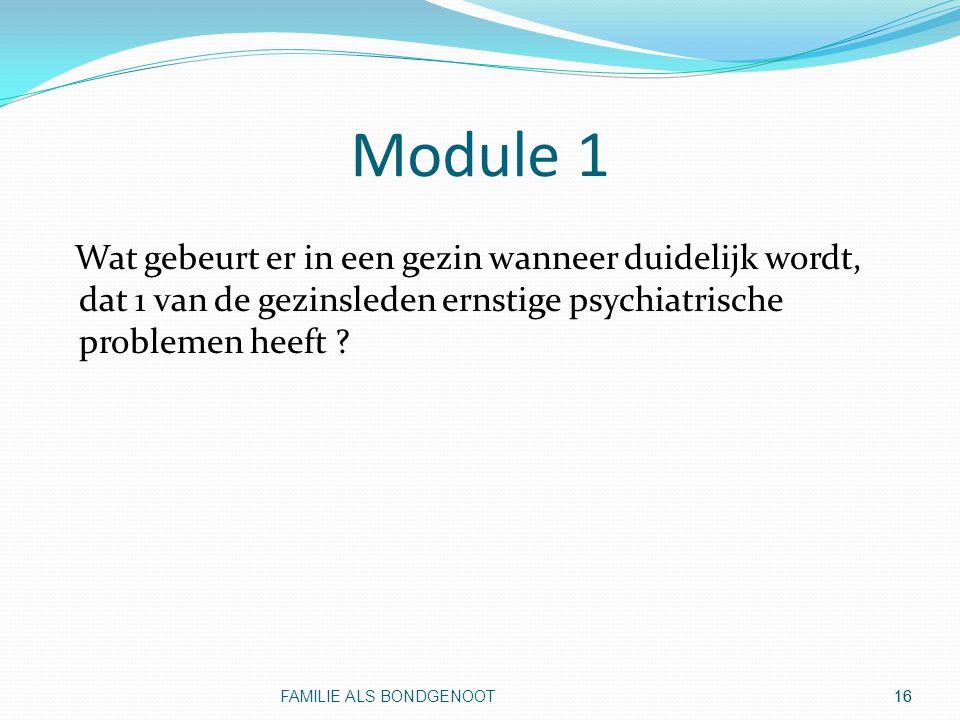 Module 1 Wat gebeurt er in een gezin wanneer duidelijk wordt, dat 1 van de gezinsleden ernstige psychiatrische problemen heeft