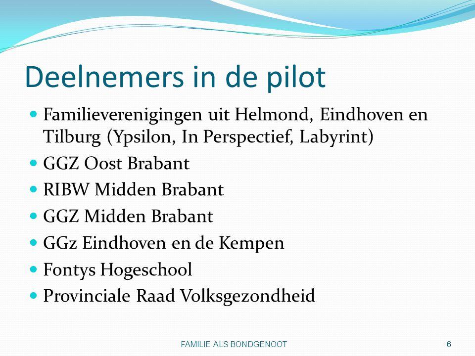 Deelnemers in de pilot Familieverenigingen uit Helmond, Eindhoven en Tilburg (Ypsilon, In Perspectief, Labyrint)