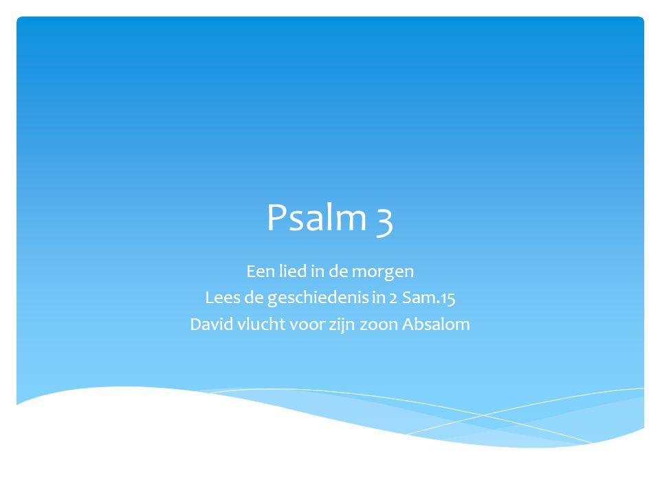 Psalm 3 Een lied in de morgen Lees de geschiedenis in 2 Sam.15