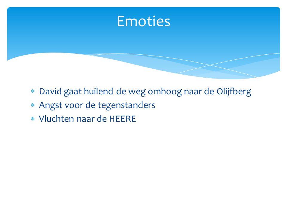 Emoties David gaat huilend de weg omhoog naar de Olijfberg
