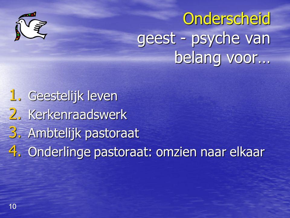 Onderscheid geest - psyche van belang voor…
