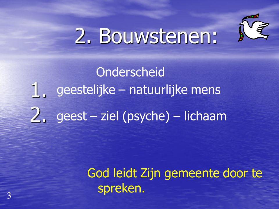 2. Bouwstenen: 1. 2. Onderscheid geestelijke – natuurlijke mens