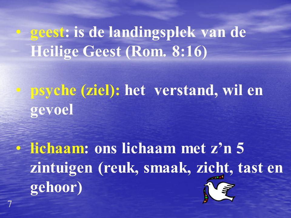geest: is de landingsplek van de Heilige Geest (Rom. 8:16)