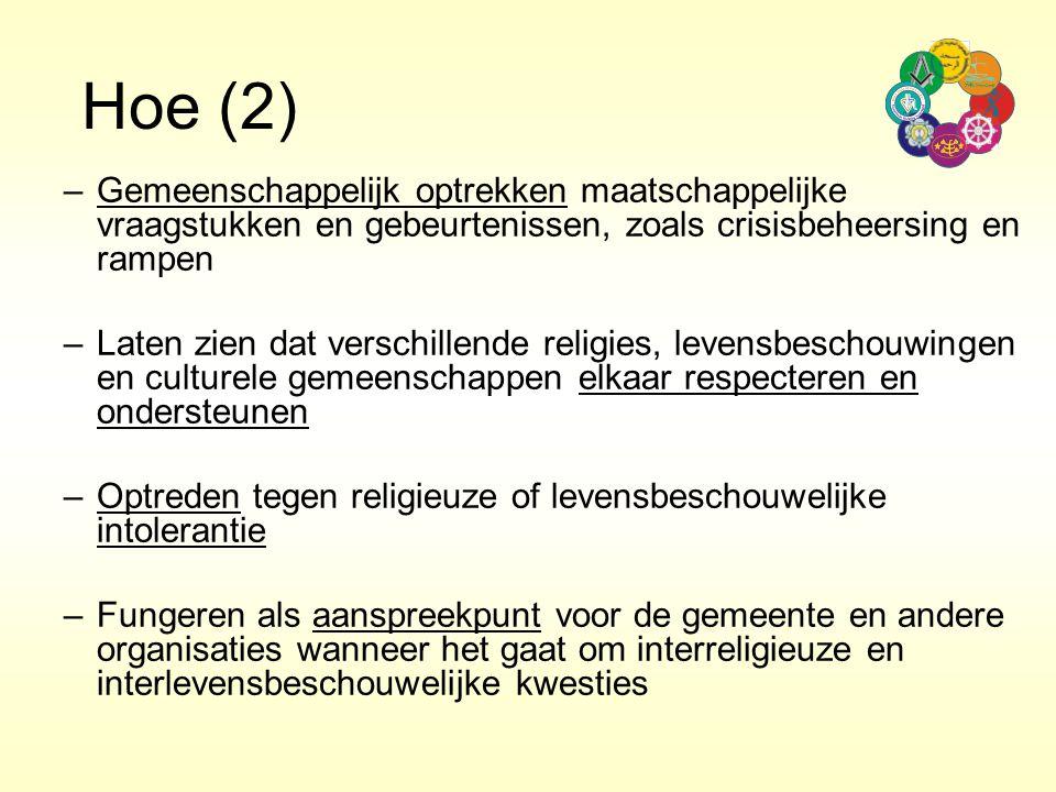 Hoe (2) Gemeenschappelijk optrekken maatschappelijke vraagstukken en gebeurtenissen, zoals crisisbeheersing en rampen.