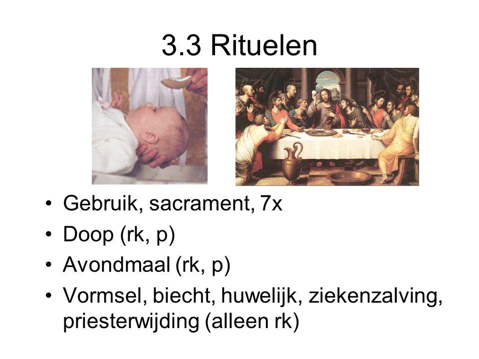 3.3 Rituelen Gebruik, sacrament, 7x Doop (rk, p) Avondmaal (rk, p)