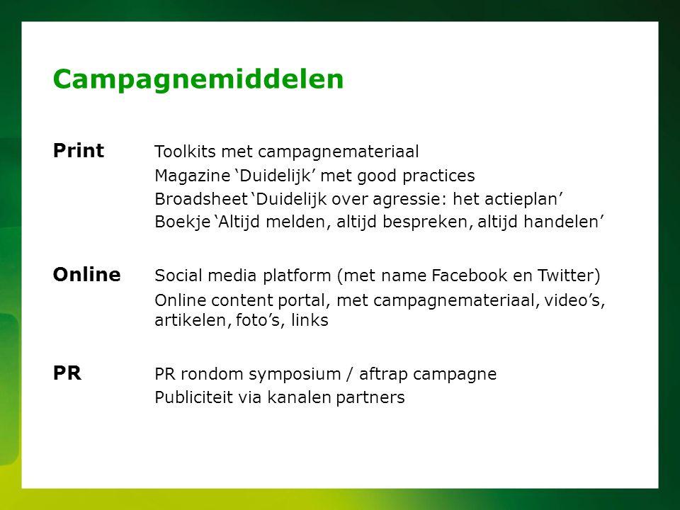 Campagnemiddelen Print Toolkits met campagnemateriaal