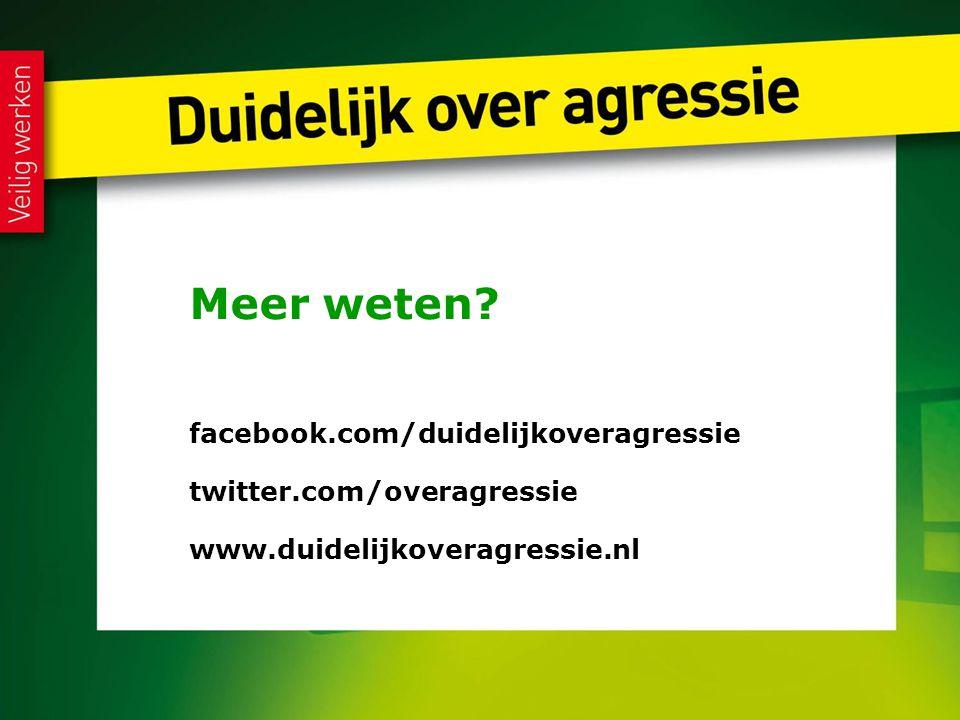 Meer weten facebook.com/duidelijkoveragressie