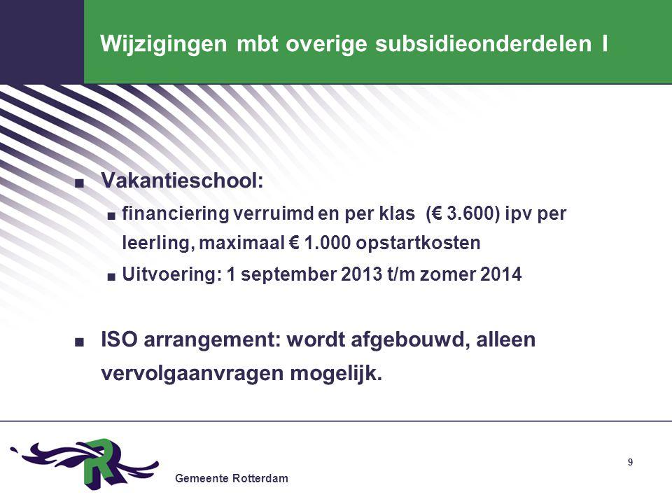 Wijzigingen mbt overige subsidieonderdelen I