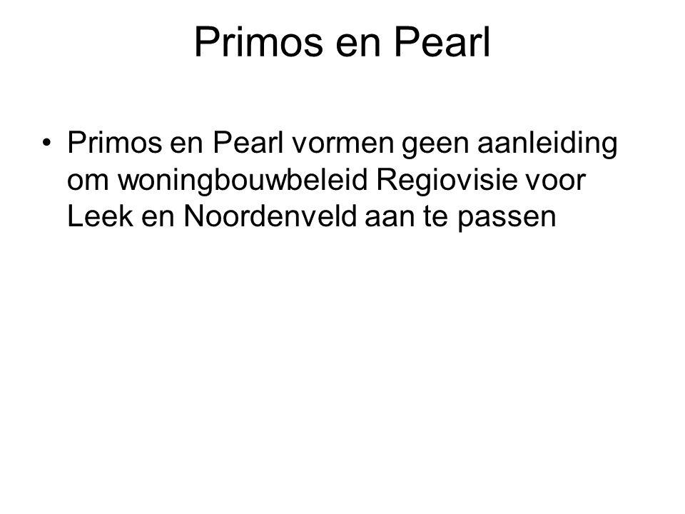 Primos en Pearl Primos en Pearl vormen geen aanleiding om woningbouwbeleid Regiovisie voor Leek en Noordenveld aan te passen.