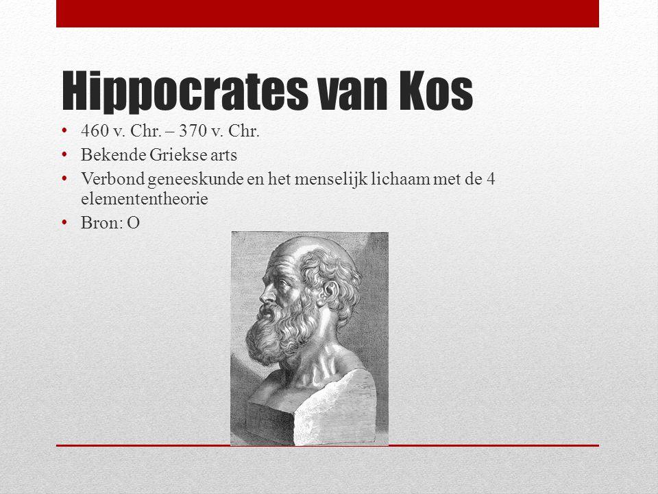 Hippocrates van Kos 460 v. Chr. – 370 v. Chr. Bekende Griekse arts